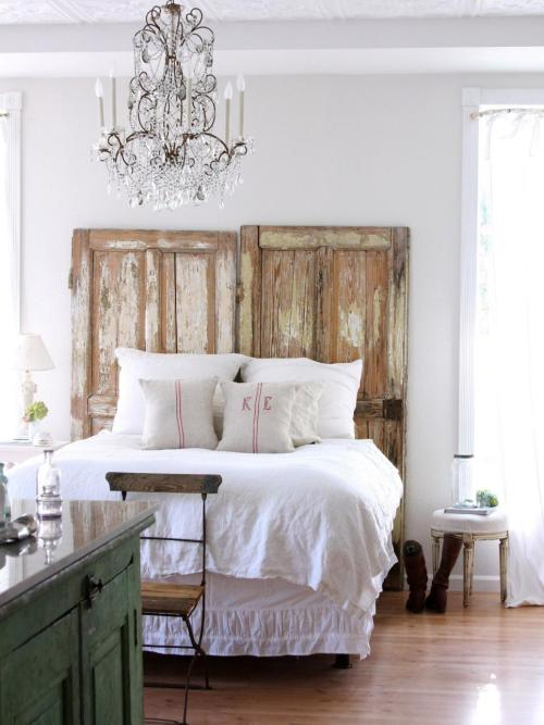 Cottage Style Decorating Combo Home Decor with a Muted Color Scheme Rustic DIY Bed Frame and Chandelier