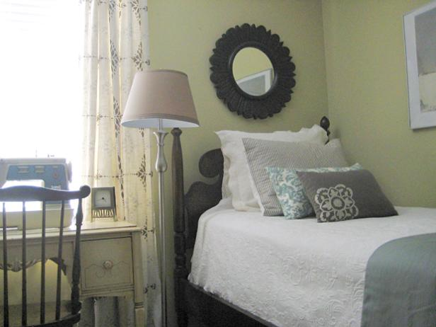 HGTV s tips for decorating your first home    HGTV Small Traditional Bedroom With Desk