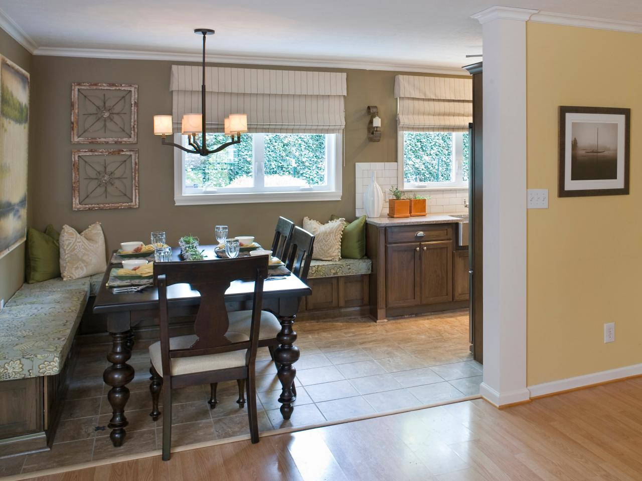 Open Kitchen And Dining Area With Banquette Seating Hgtv