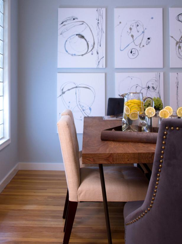 Contemporary Dining Room With Modern Artwork