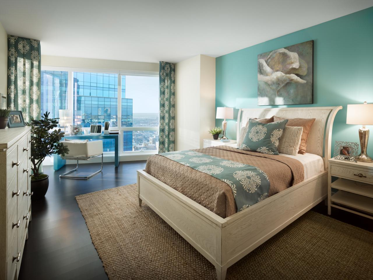 neutral bedroom with aqua accent wall hgtv on master bedroom wall color id=80393