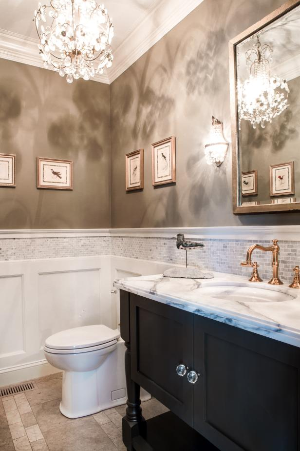 Traditional Neutral Bathroom With Split Textured Walls Hgtv
