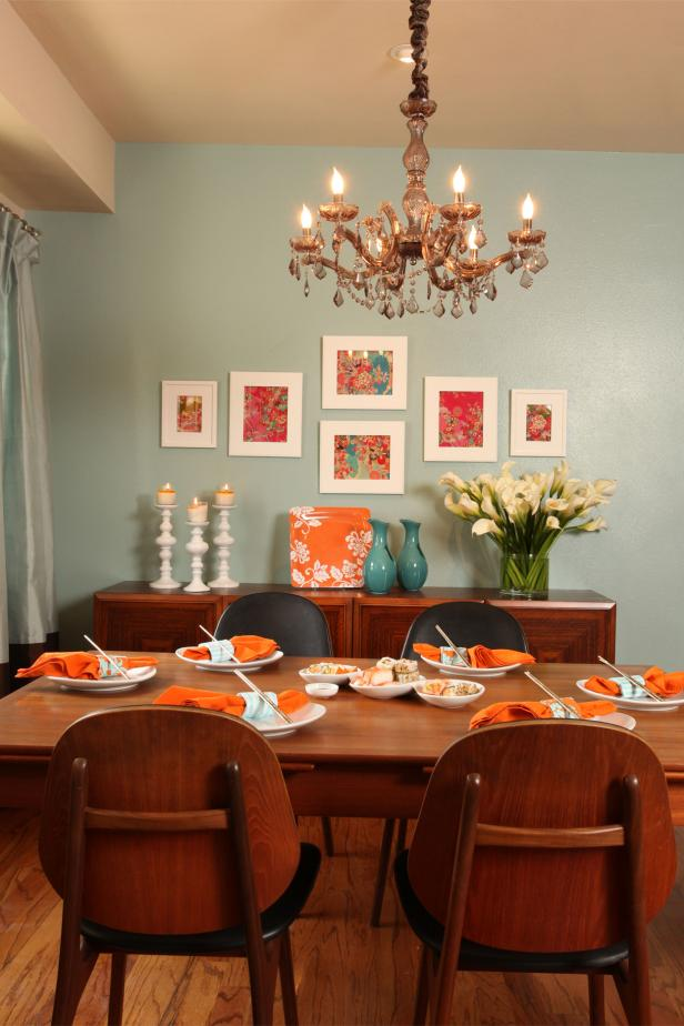 Cool Blue Transitional Dining Room Features Sparkling