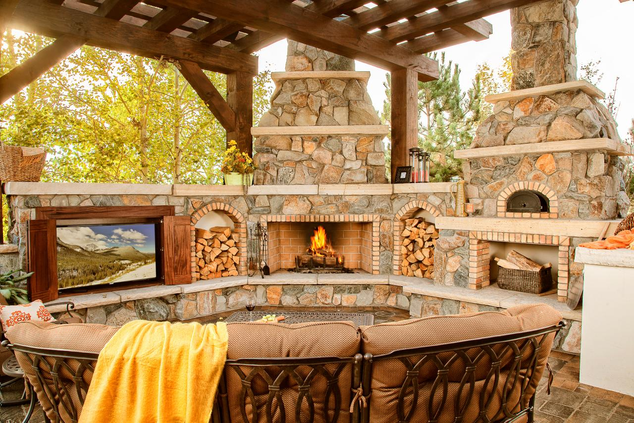 Outdoor Living Space Boasts TV, Fireplace and Pizza Oven ... on Outdoor Patio With Pizza Oven  id=75776