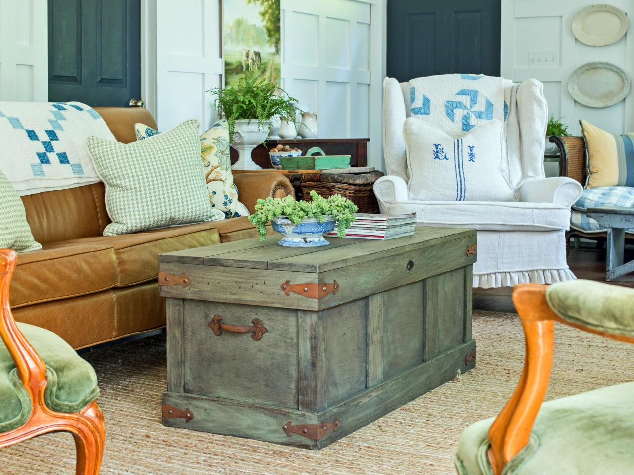 rustic trunk style coffee table