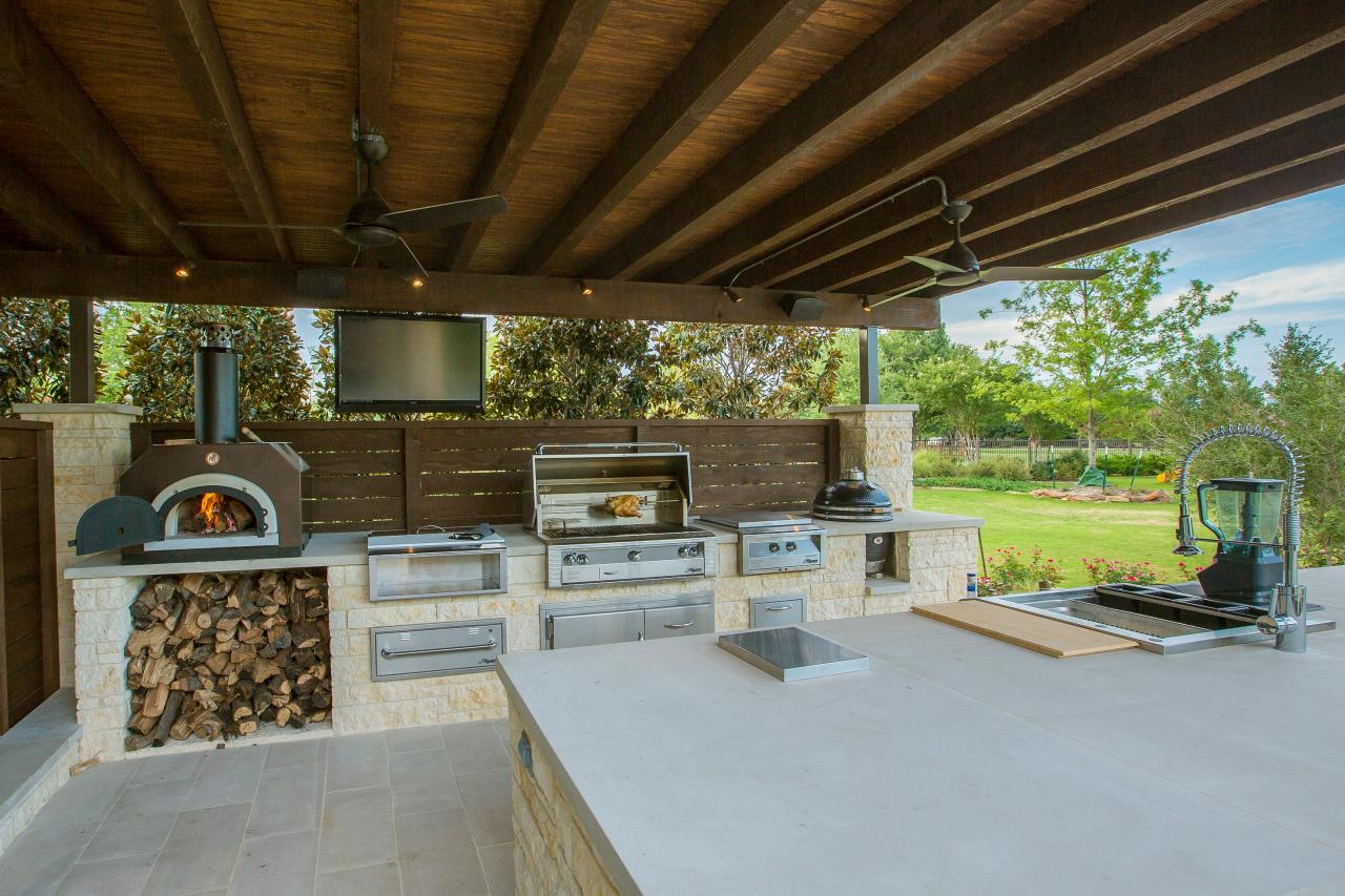 Outdoor Covered Patio With Fireplace And Pizza Oven