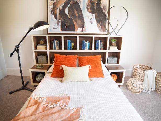 How to Make a Headboard With Storage   HGTV Headboard With Storage Cubbies
