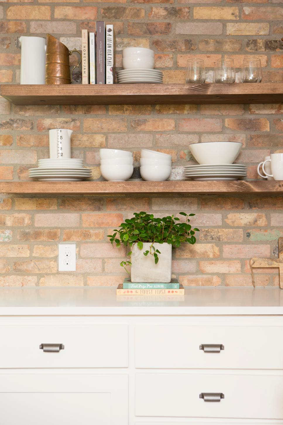 rustic neutral kitchen with brown brick backsplash hgtv on kitchen kitchen design ideas inspiration ikea id=77258