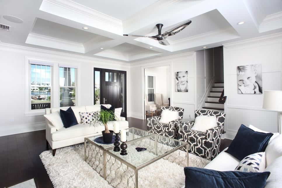 Contemporary Black And White Living Room With Coffered Ceiling And Modern Accessories Hgtv