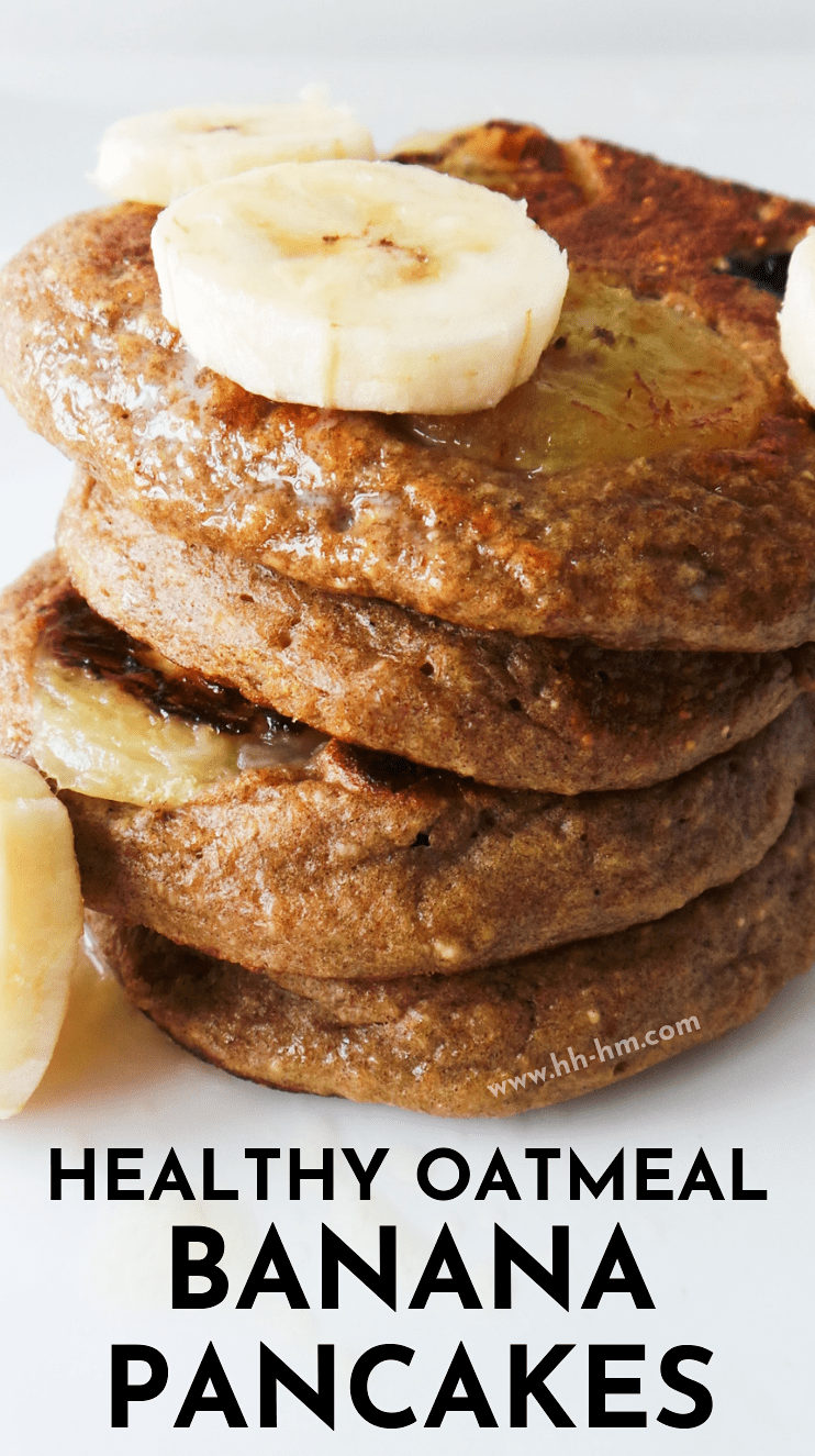 Healthy banana pancake recipe! These banana oatmeal pancakes are a healthy and easy breakfast that is also great for on the go! They also make an awesome toddler snack or breakfast! Made with oats and sweetened with only one banana these pancakes are nutritious, flourless, refined sugar-free also good for weight loss and if you want to improve your health and fitness. #healthy #breakfast #pancakes #banana #recipe #fitness