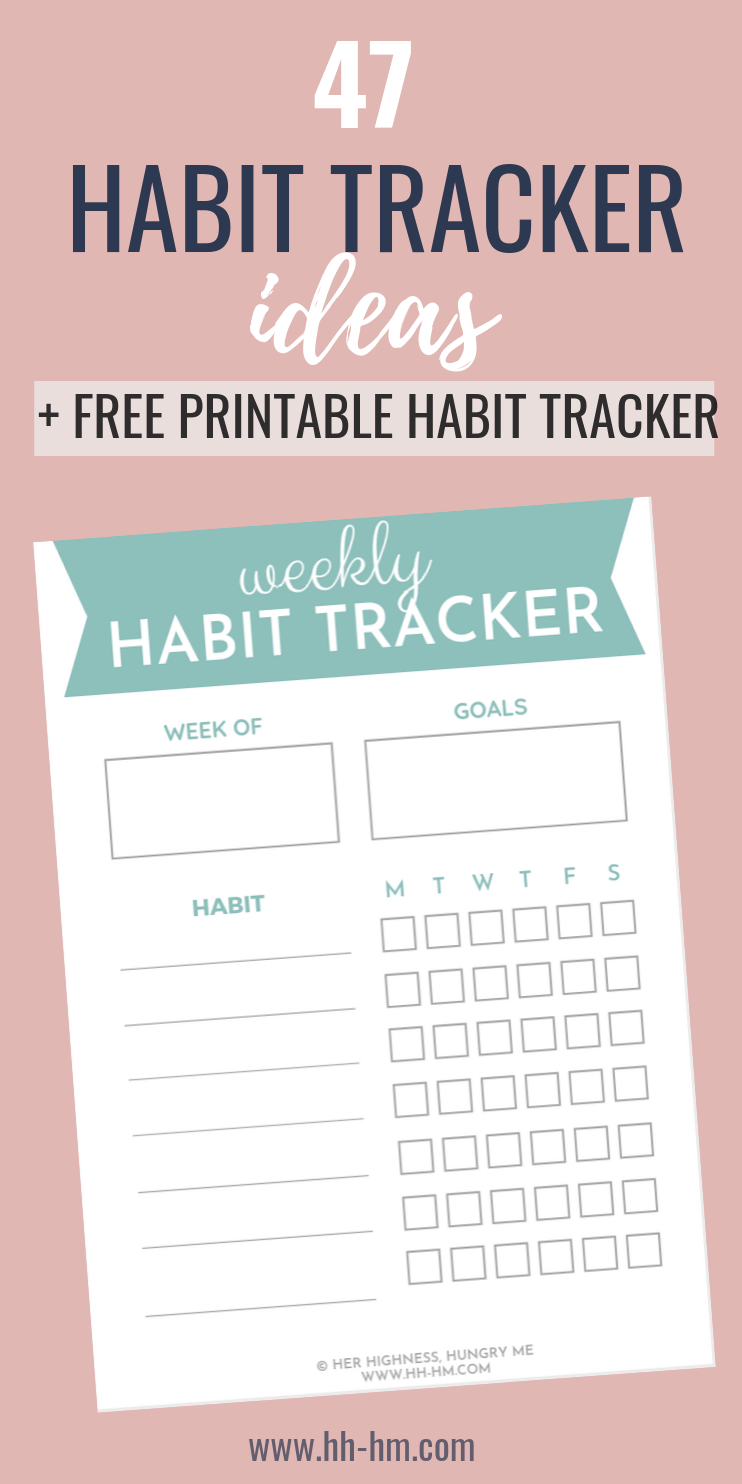 Weekly Habit Tracker and habit tracker ideas to develop good habits and achieve your goals! I share 47 things you can track in your habit tracker!