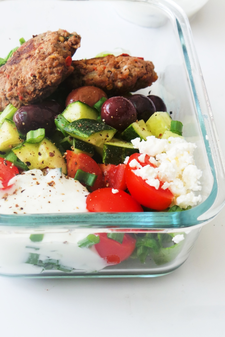 These Greek meatball bowls are a healthy, flavourful and easy to make low carb meal prep recipe that is great for lunch or dinner!