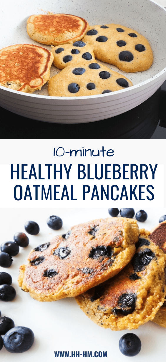 10-Minute Healthy oatmeal blueberry pancakes! These delicious blueberry oatmeal pancakes are made with 6 ingredients, easy to put together and make the perfect healthy breakfast! #blueberry #oatmeal #pancakes #healthy #recipe #breakfast