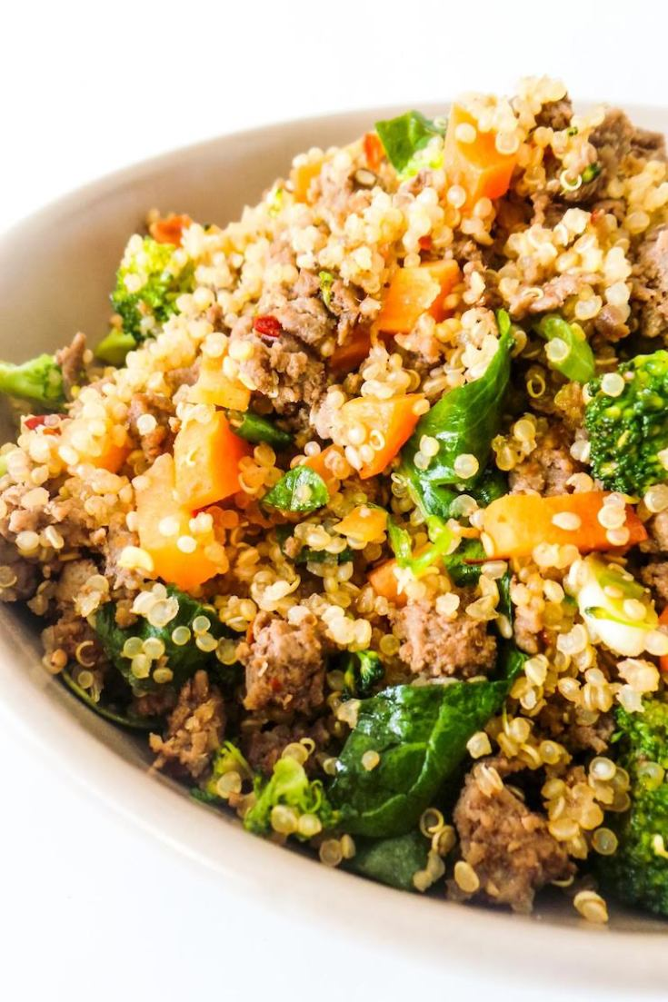 Healthy Ground Beef And Broccoli Fried Quinoa Recipe Her Highness Hungry Me