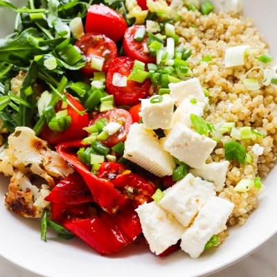 Healthy Quinoa Salad With Feta & Roasted Veg
