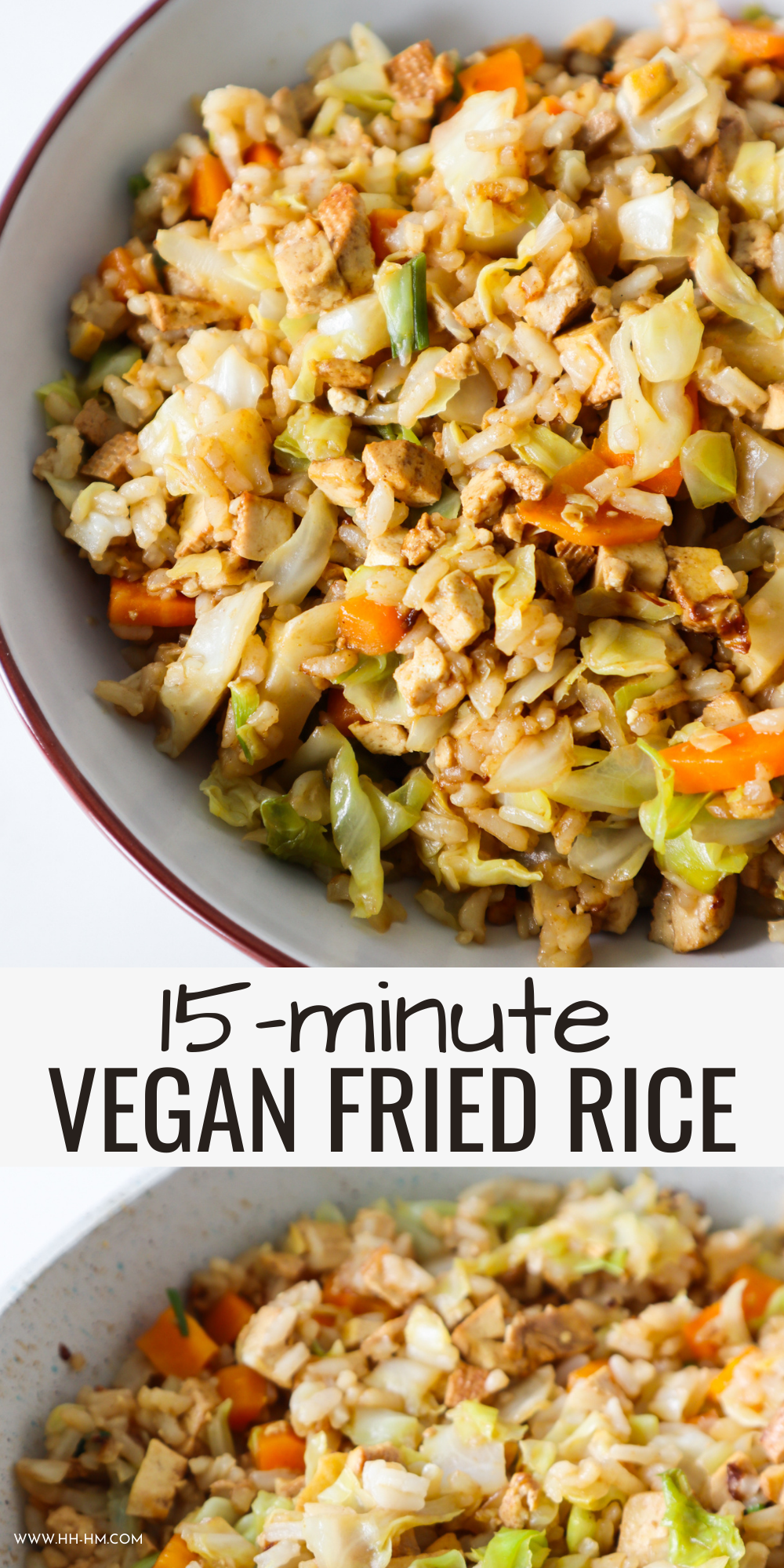 Make this easy vegan fried rice with tofu and vegetables! This quick meatless meal is a great healthy vegan dinner idea and perfect for weeknights!