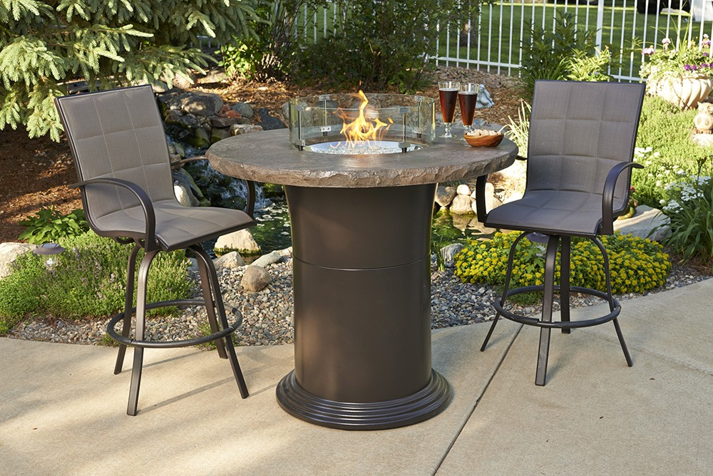 Outdoor Greatroom Company Marbleized Noche Colonial Chat ... on Outdoor Dining Tables With Fire Pit id=94756