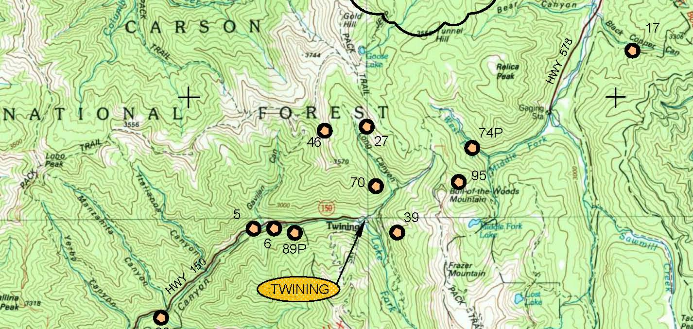 Locations Placer New Mexico Gold