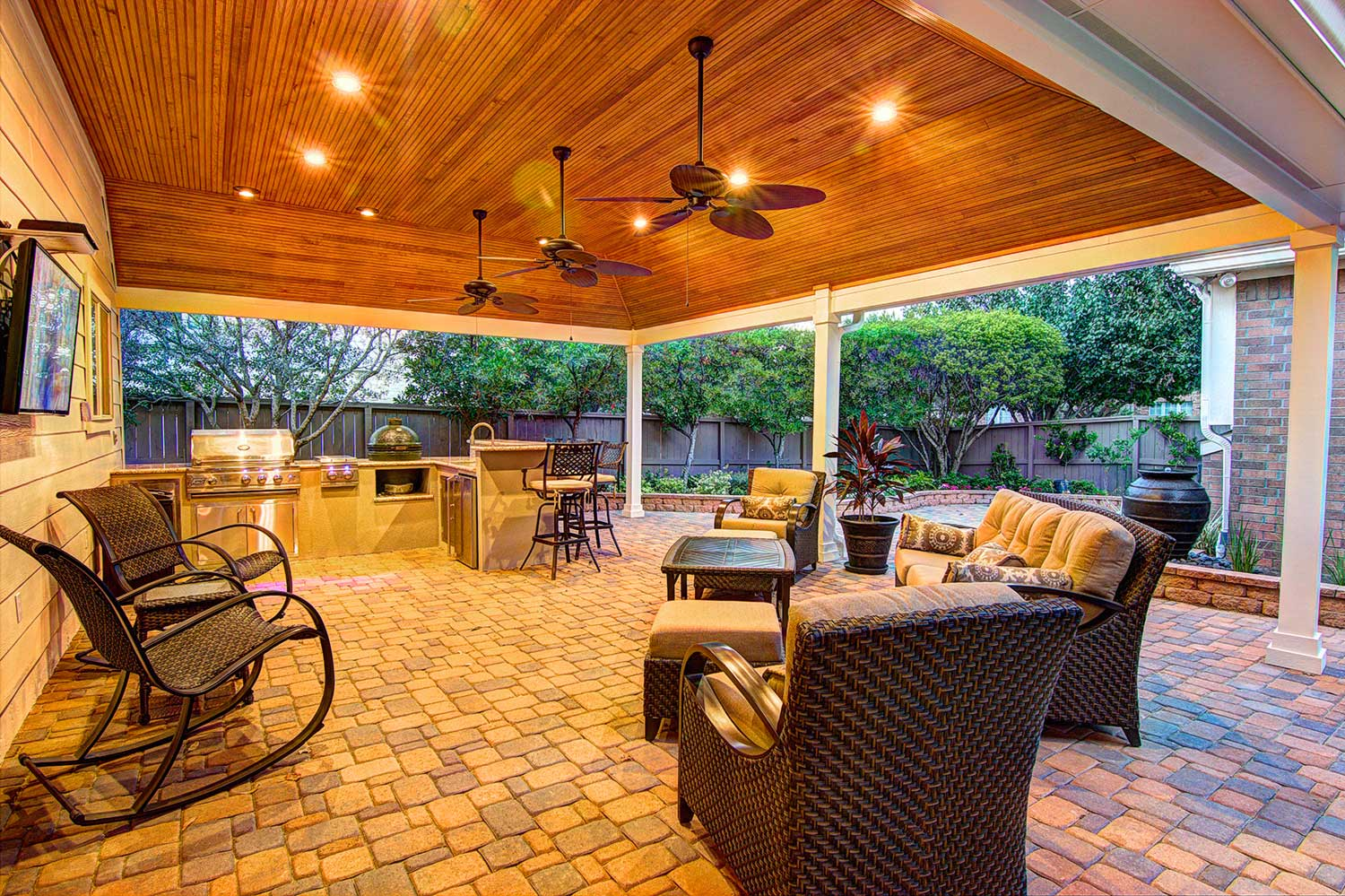 Tongue and Grove Patio Cover plus Outdoor Kitchen - HHI ... on Backyard Patio Cover  id=87877