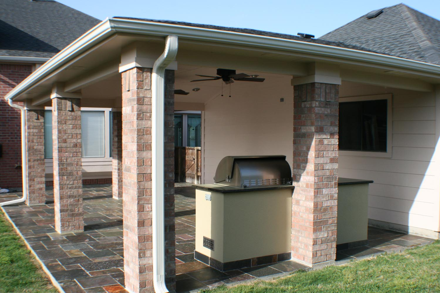 Natural Stone Floor Patio Cover and Outdoor Kitchen - HHI ... on Backyard Patio Cover  id=66371