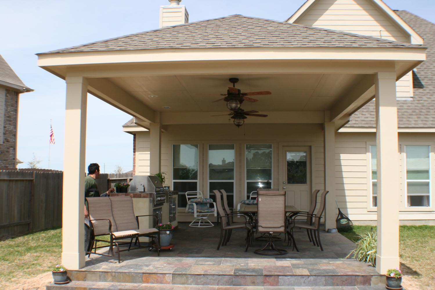 16 by 20 Patio Cover + Outdoor Kitchen - HHI Patio Covers on Backyard Patio Cover  id=61981