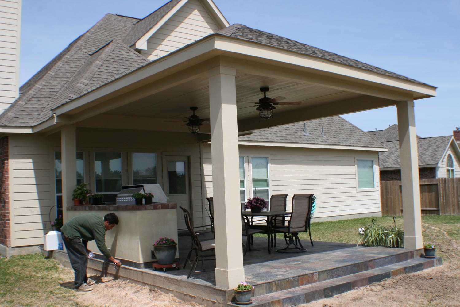 16 by 20 Patio Cover + Outdoor Kitchen - HHI Patio Covers on Backyard Patio Cover Ideas  id=94925
