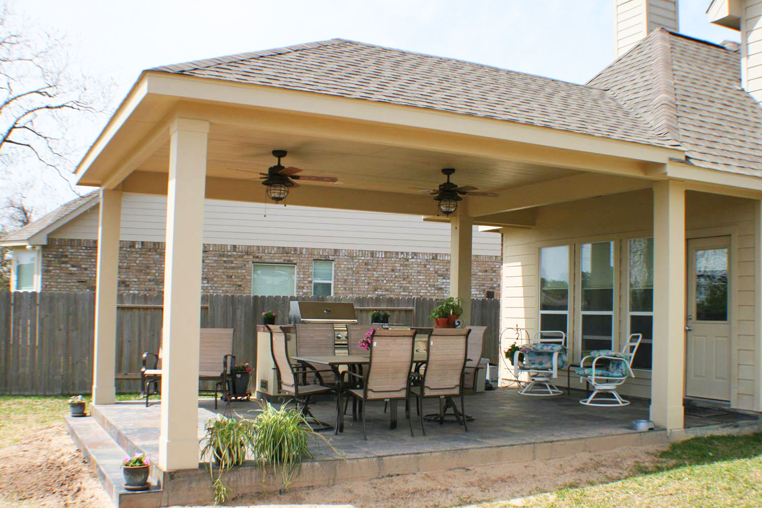 16 by 20 Patio Cover + Outdoor Kitchen - HHI Patio Covers on Backyard Patio Cover Ideas  id=11828