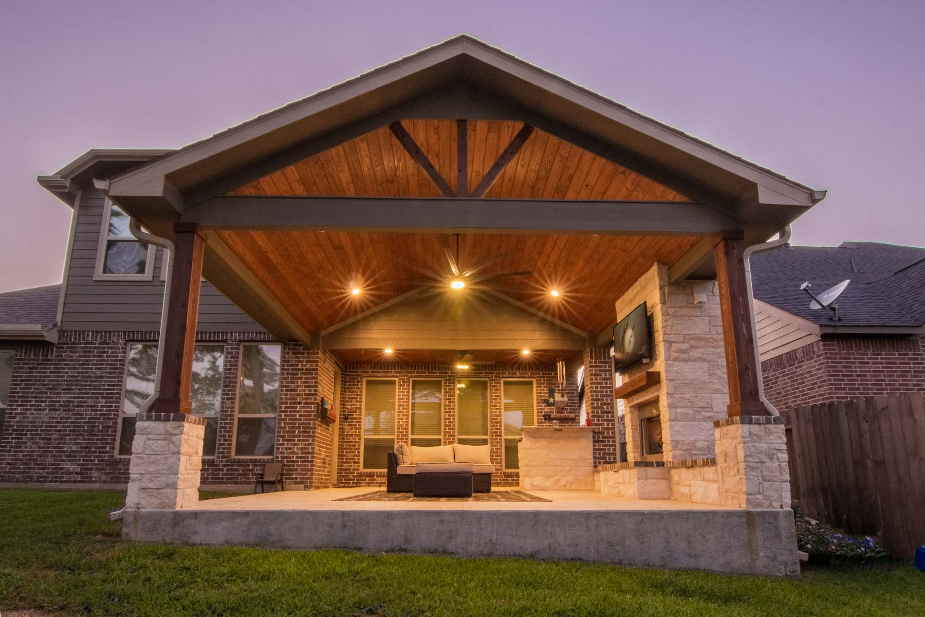 Patio Cover and Fireplace (Cypress Tx) - HHI Patio Covers on Patio Cover Ideas Wood id=70790