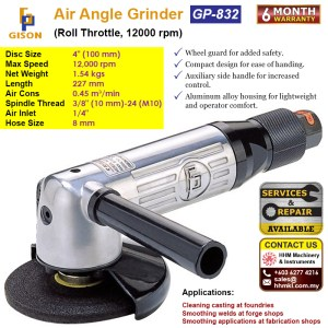 4″ Air Angle Grinder (Roll Throttle ,12000RPM) GP-832