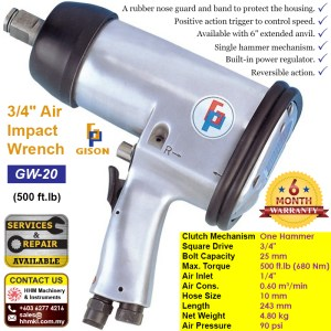 3/4″ Air Impact Wrench (500 ft.lb) GW-20