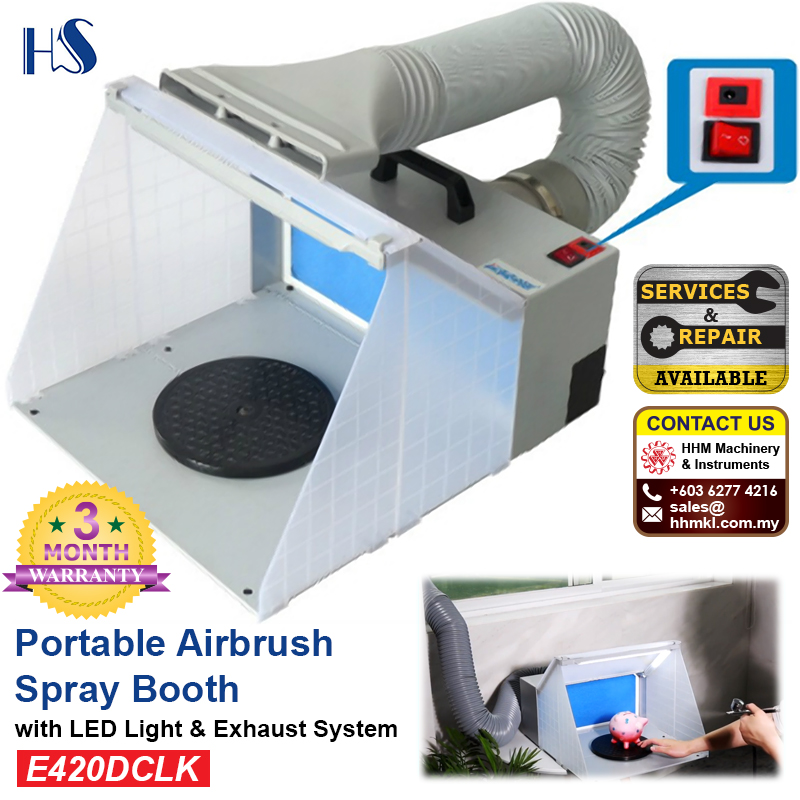 HAOSHENG Portable Airbrush Spray Booth with LED Light And Exhaust System E420DCLK
