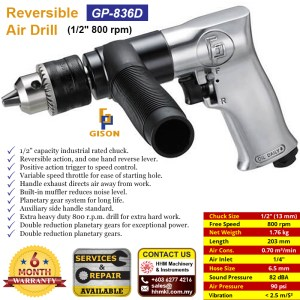 1/2″ Reversible Air Drill (800 rpm) GP-836D