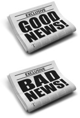 Folded newspapers with headlines reading good news, bad news