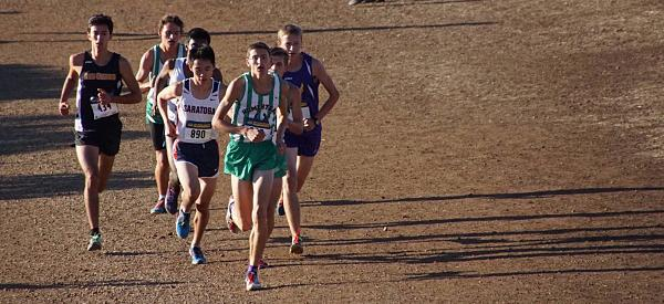 Caption: Senior Daniel Graves leads group of runners at SCVAL league finals along with senior Christopher Reed and junior Max Sawyer. Photo courtesy of Ray O'Brien