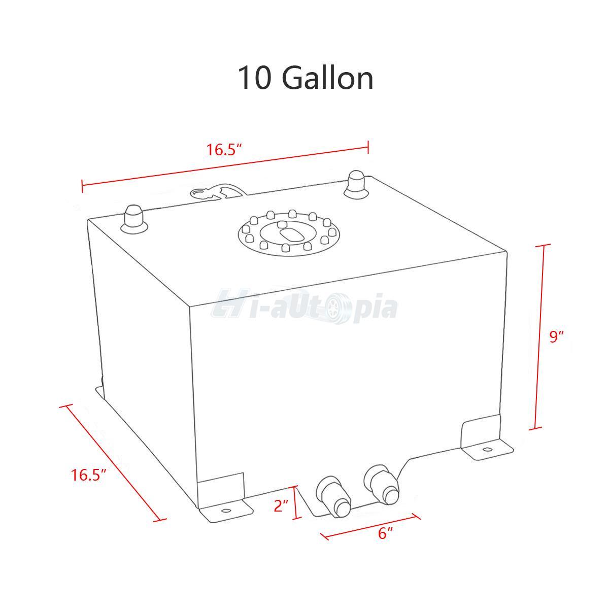 10 Gallon Lightweight Aluminum Race Drift Fuel Cell Tank