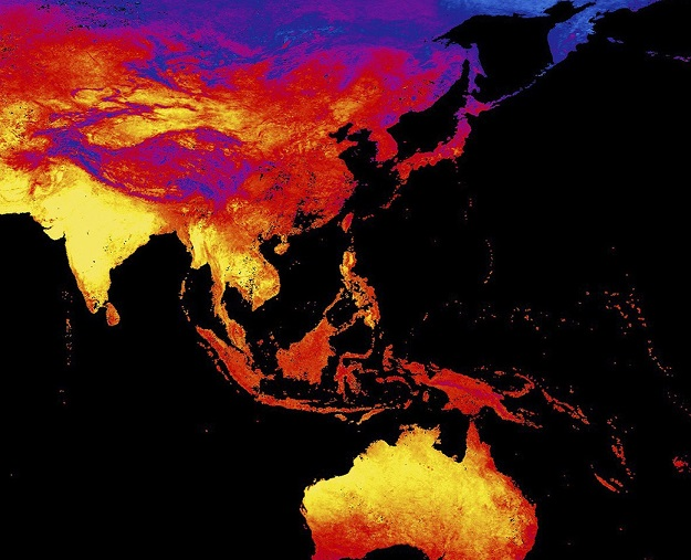 The image is a heat map released from NASA's Earth Observatory Team that shows land surface temperature in Asia between 15 and 23rd April, 2016. Credit: Associated Press
