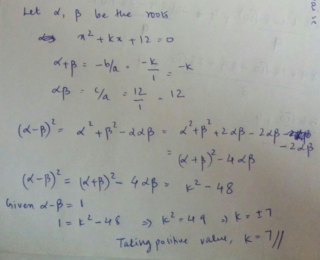 If The Difference Of The Roots Of The Quadratic Equation X