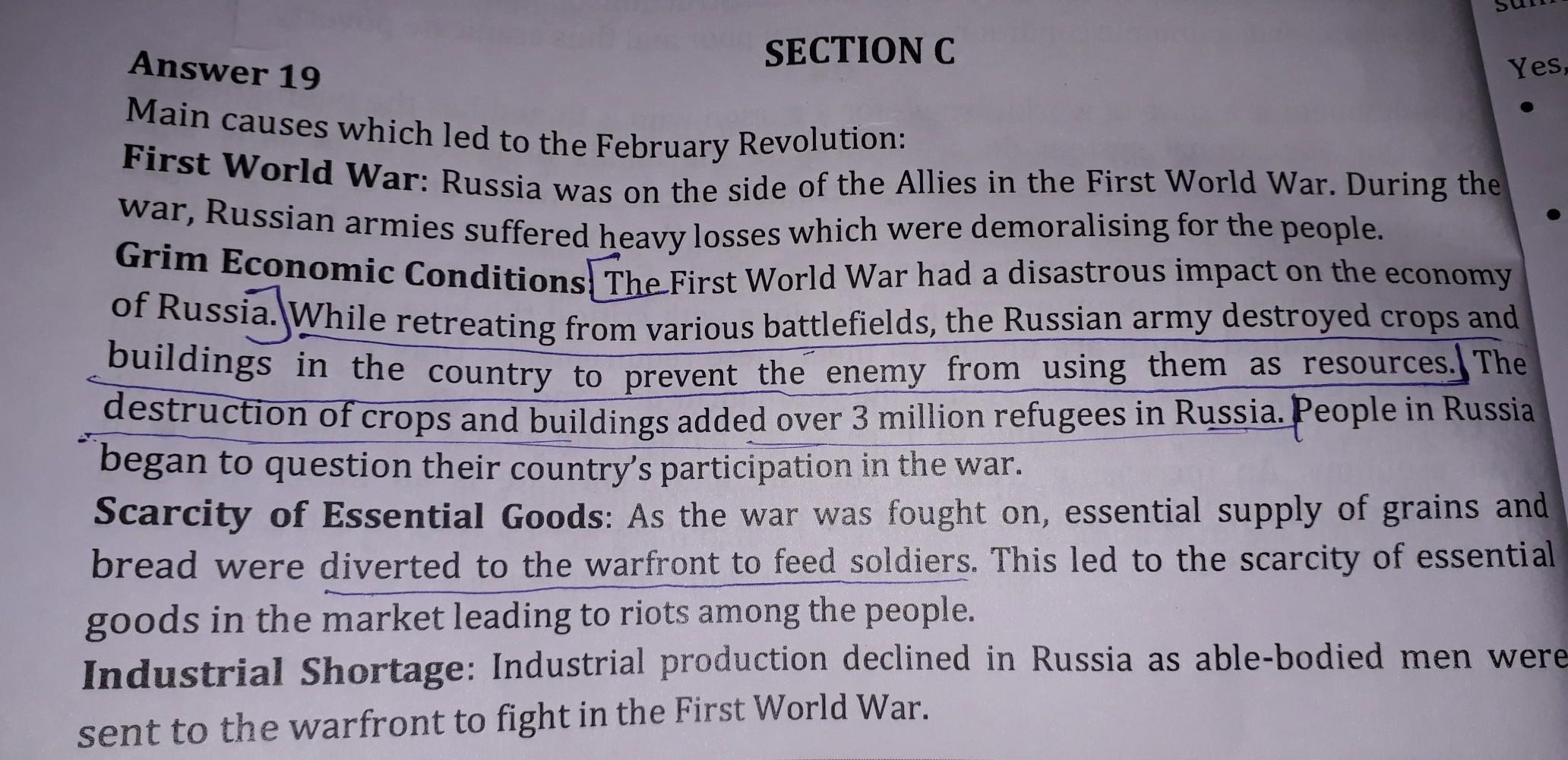 Main Causes Of Russian Revolution In Points