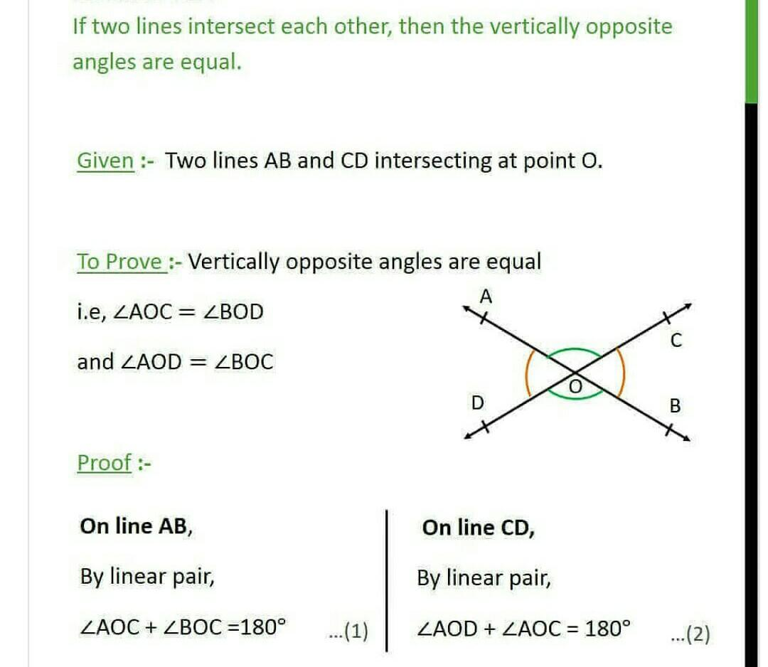 Prove That If 2 Lines Intersect Each Other Than The