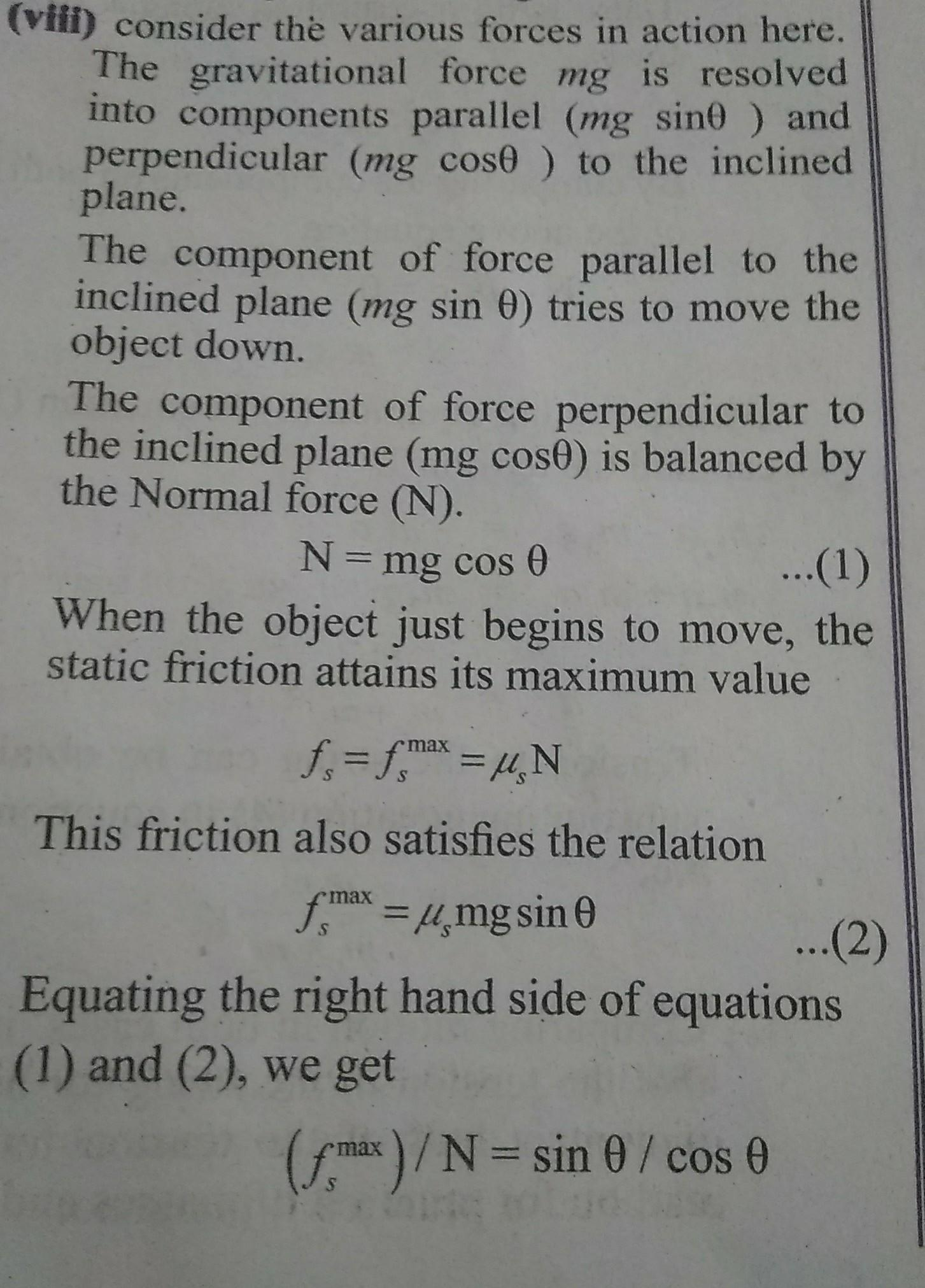 Prove That Coefficient Of Friction Is Equal To Tangent Of