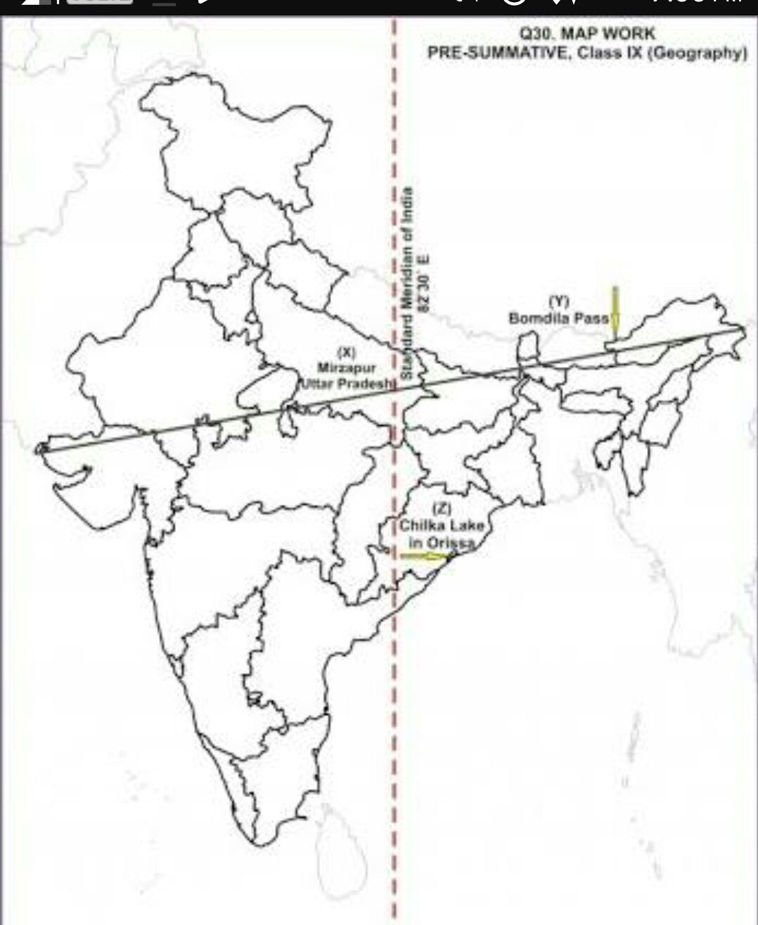 How To Mark Standard Meridian Of India In River Map