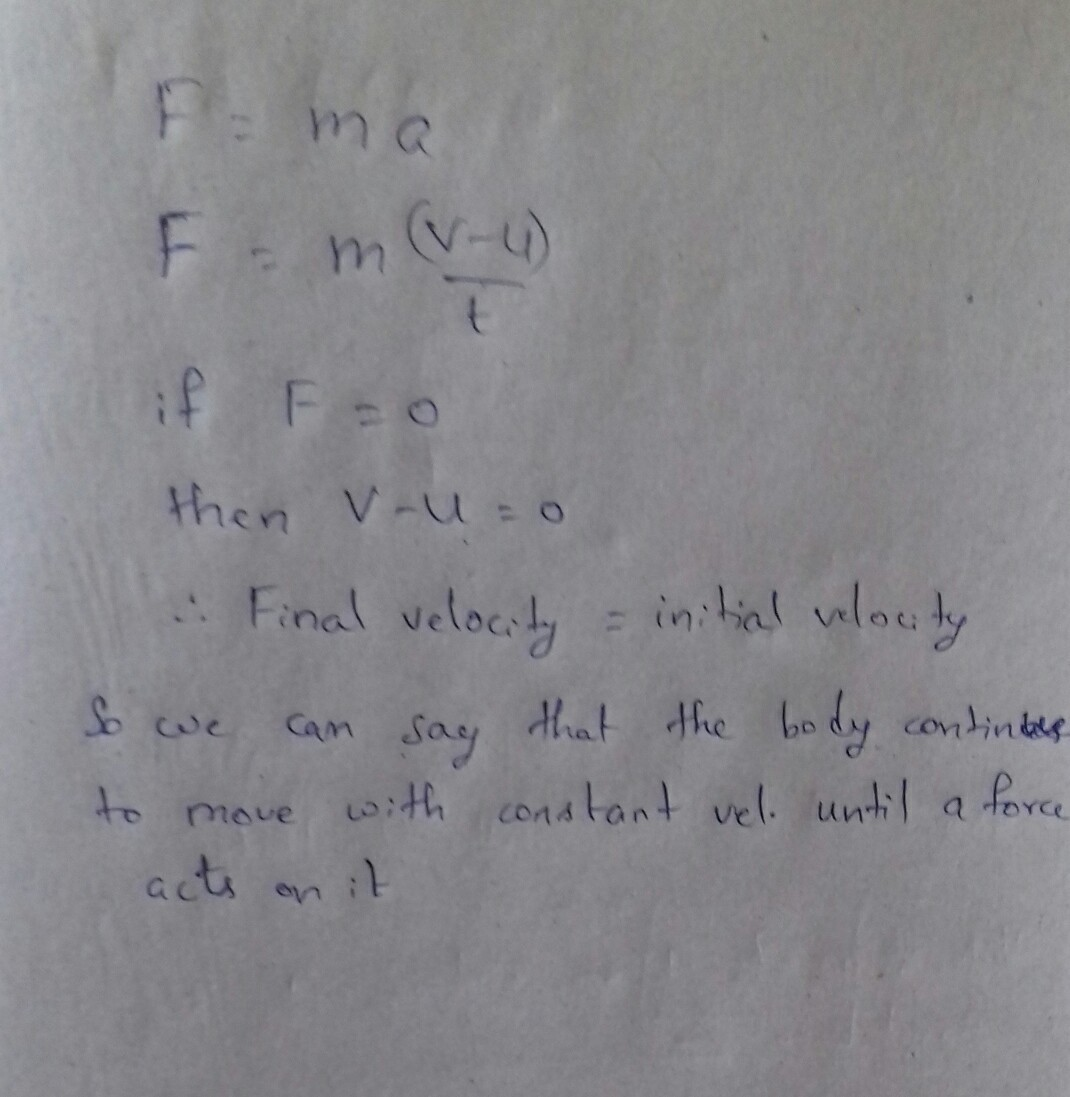 Obtain Mathematically The First Law Of Motion From Newton