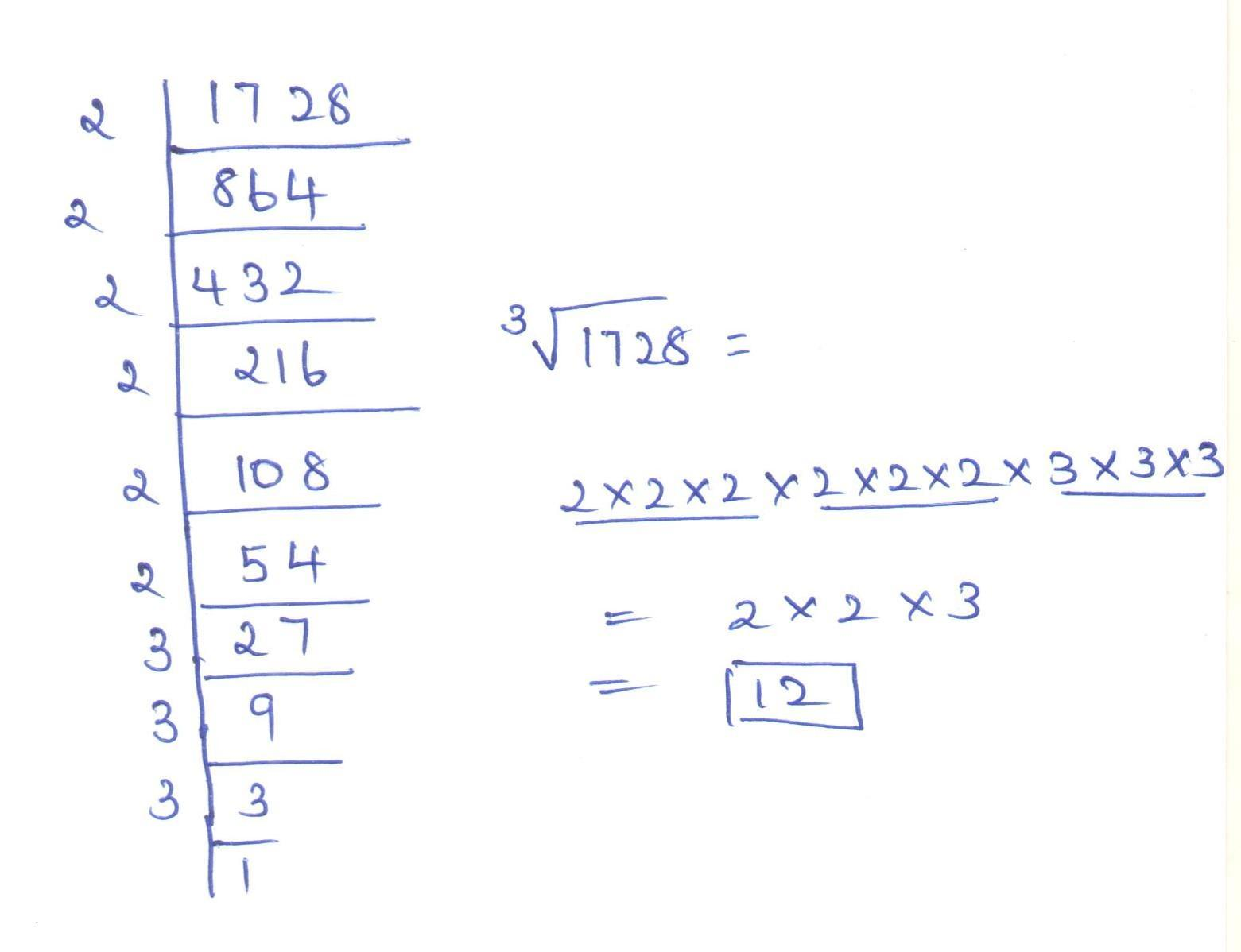 Find The Cube Root Of By Prime Factorization Msthod