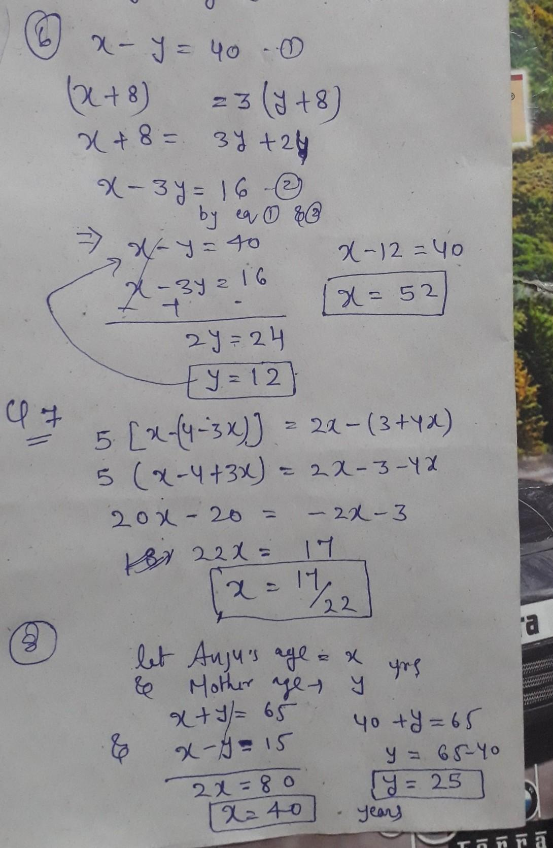 Linear Equation In One Variable Class 8 Problems
