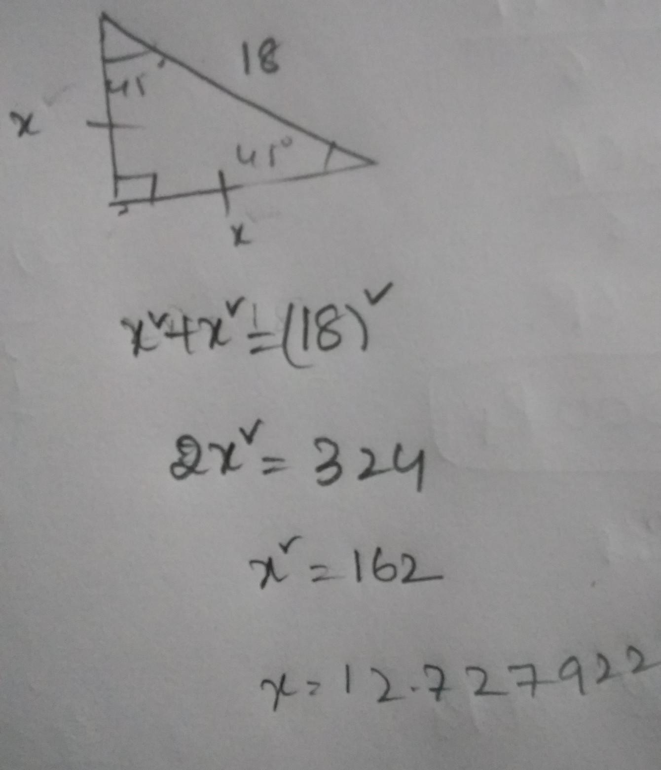 The Hypotenuse Of A 45 45 And 90 Triangle Measures 18 Cm