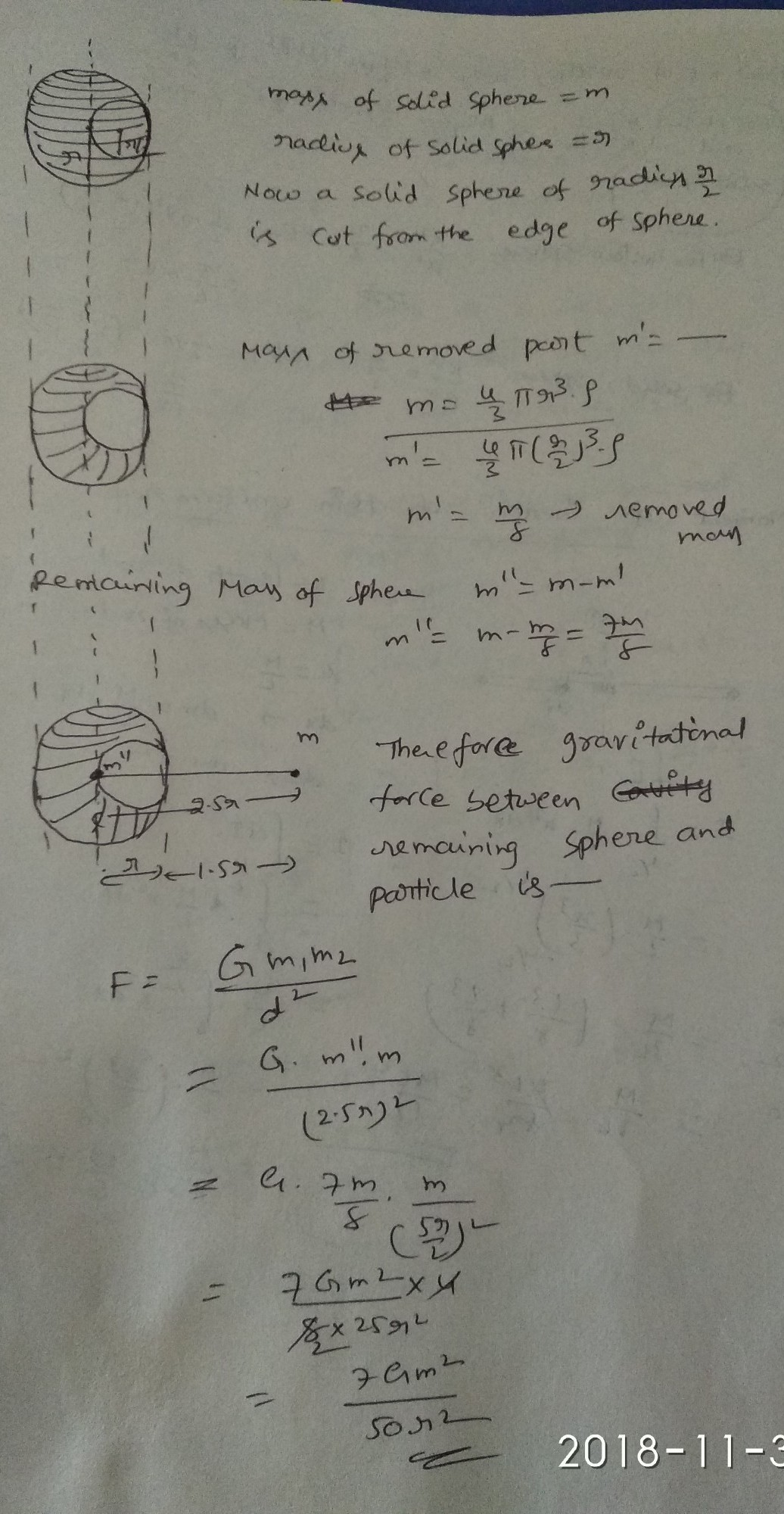 A Solid Sphere Of Radius R 2 Is Cut Out Of A Solid Sphere