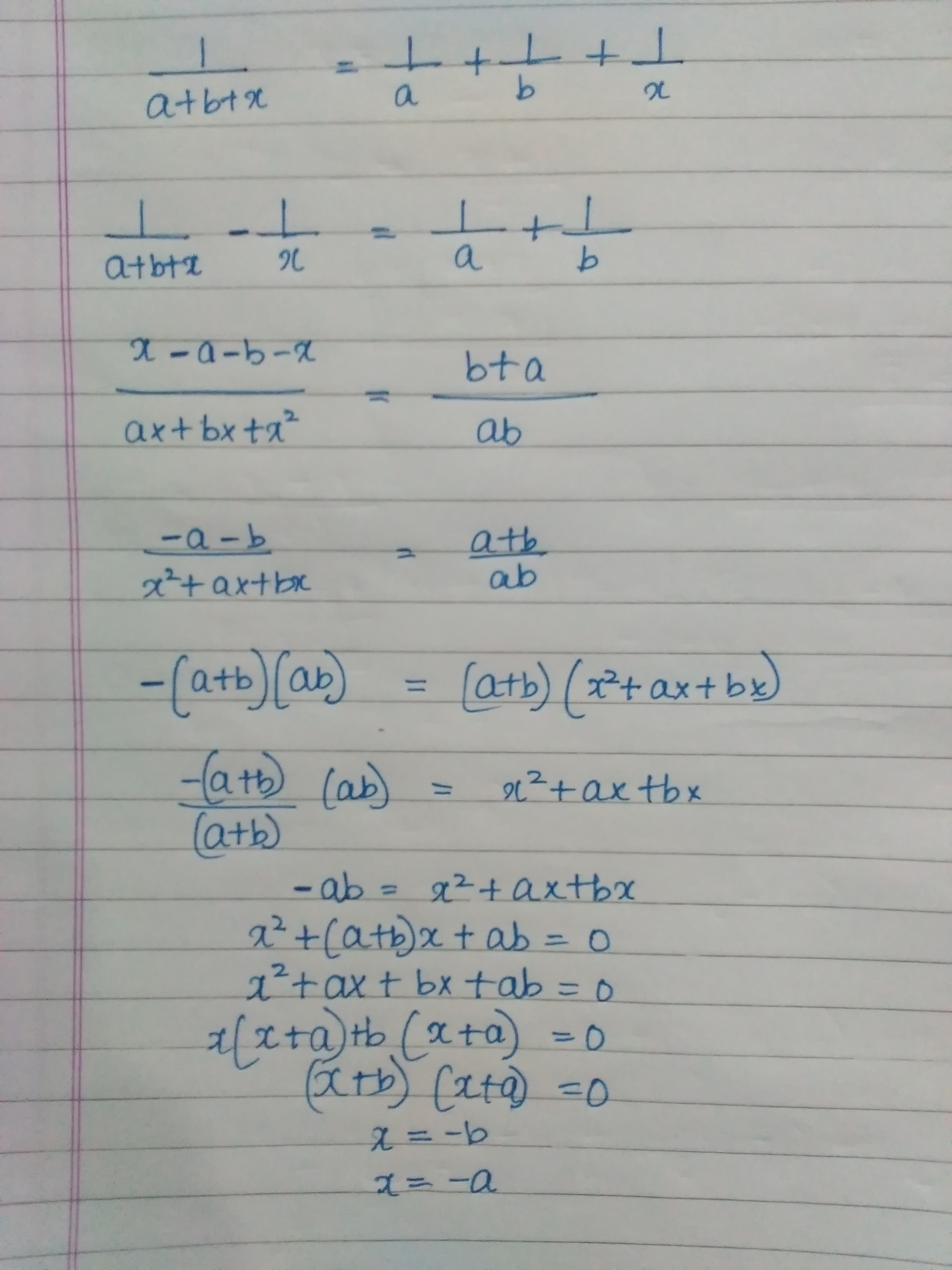 Solve For X 1 A B C 1 A 1 B 1 X