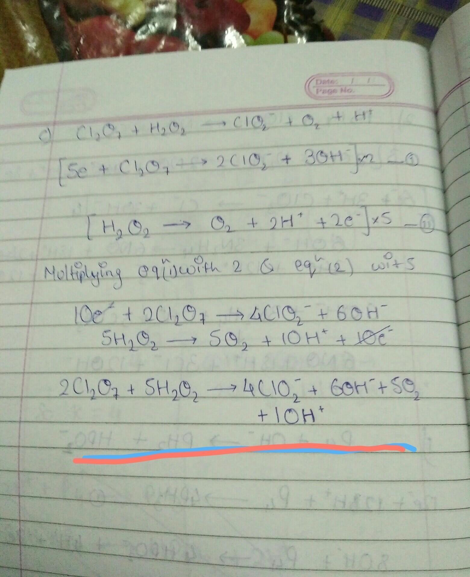 Cl2o7 H2o2 Gt Clo2 O2 H Balance The