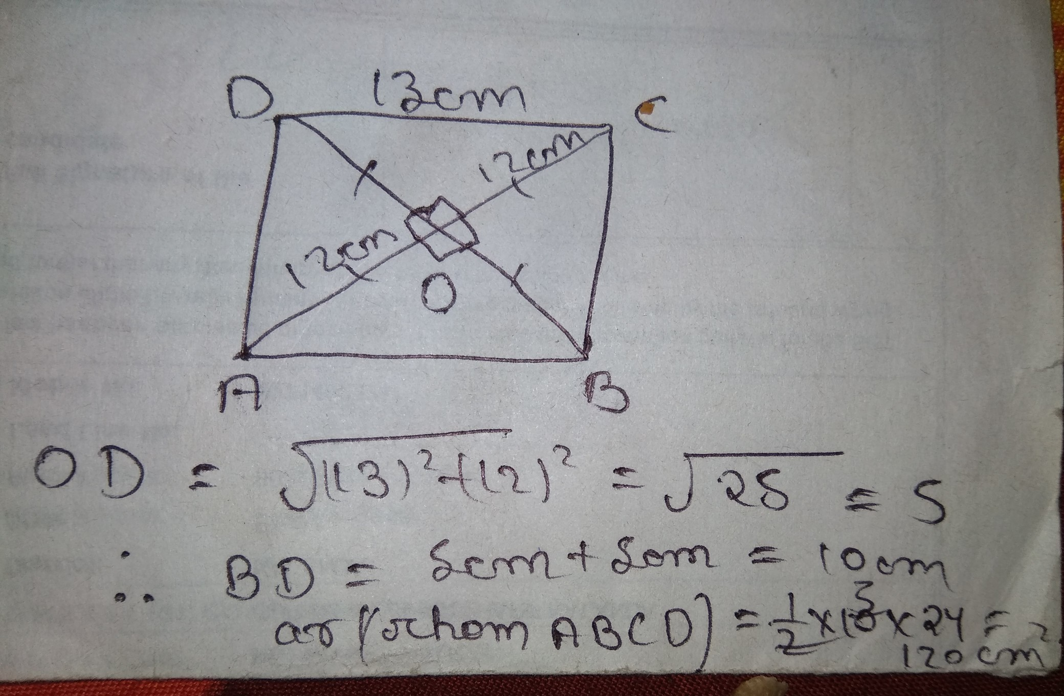 Find The Area Of A Rhombus Having Each Side Equal To 13cm