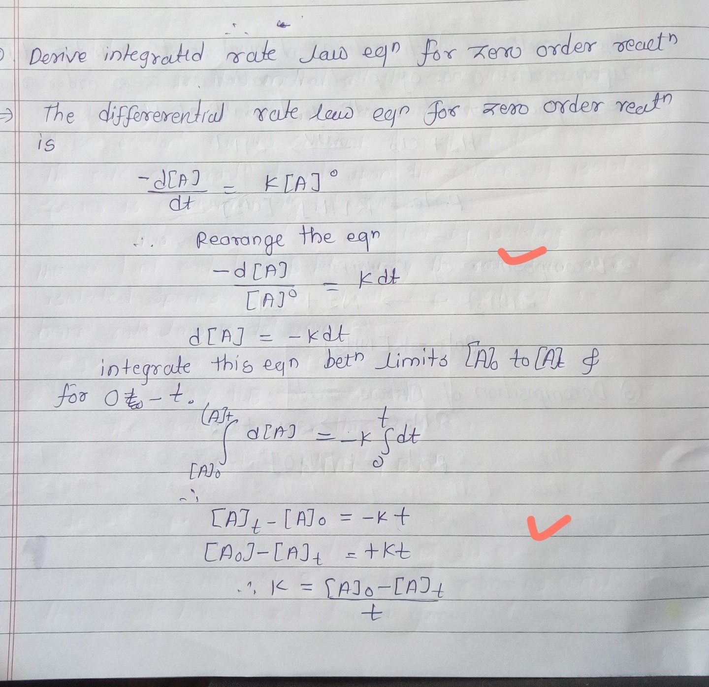 Derive An Integrated Rate Equation For Constant The First